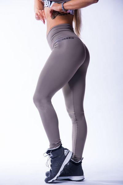 Nebbia - High Waist Scrunch Butt Leggings, mocca