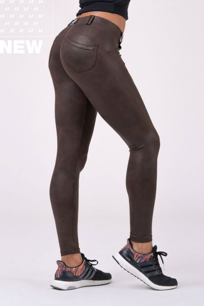 Nebbia - Bubble But Leather Look pants, brown