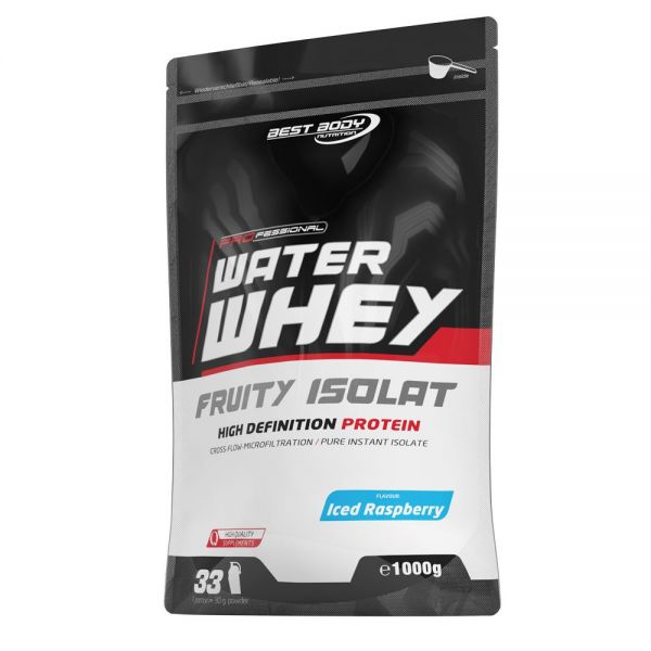 Best Body Nutrition - Professional Water Whey Fruity Isolat, Iced Raspberry - 1000g Zipp Beutel