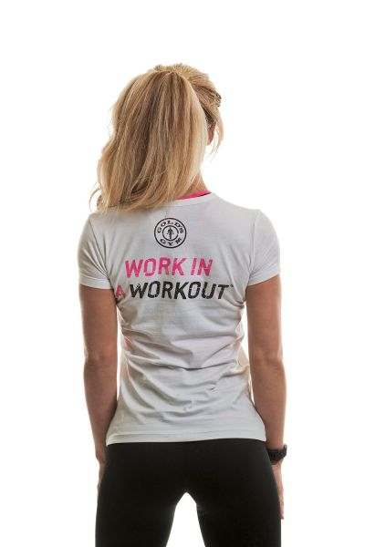 Gold's Gym - Ladies Fitted Muscle Joe T-Shirt, weiss