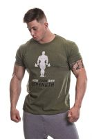 Gold's Gym - Slogan Premium T-Shirt, kahki