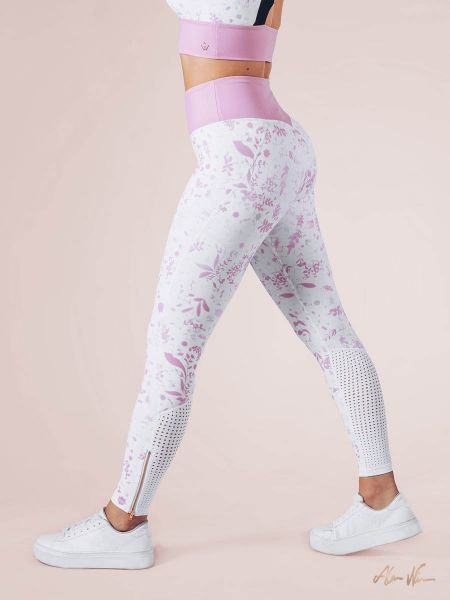 Workout Empire - Strong is Female Floral Leggings, white