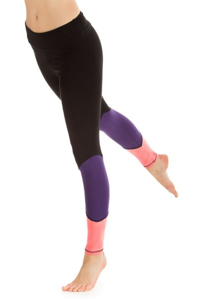 "Winshape - ""Go for Your Colour"" Long Tights WTL13, schwarz/lila/neon coral"